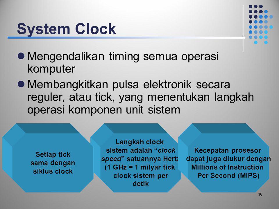System Clock  Mengendalikan timing semua operasi komputer  Membangkitkan pulsa elektronik secara reguler, atau tick, yang menentukan langkah operasi