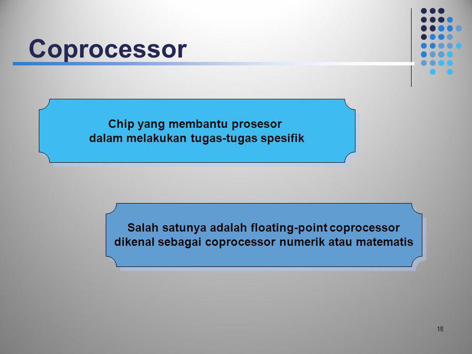 Coprocessor 18 Chip yang membantu prosesor dalam melakukan tugas-tugas spesifik Chip yang membantu prosesor dalam melakukan tugas-tugas spesifik Salah