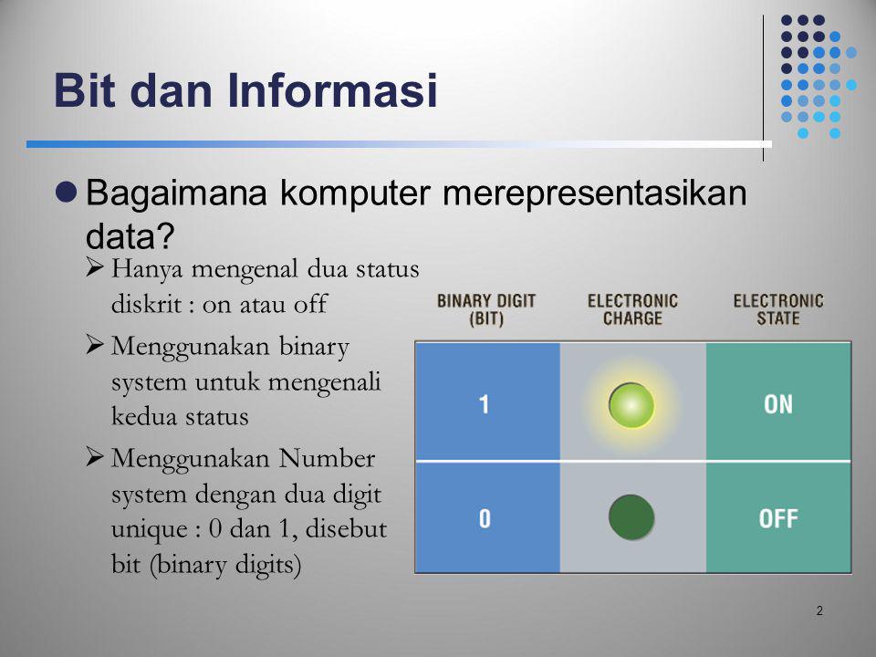 Bit dan Informasi  Bagaimana komputer merepresentasikan data? 2  Hanya mengenal dua status diskrit : on atau off  Menggunakan binary system untuk m