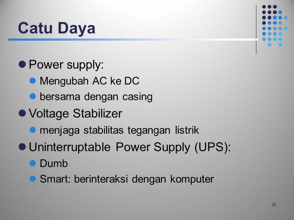 Catu Daya  Power supply:  Mengubah AC ke DC  bersama dengan casing  Voltage Stabilizer  menjaga stabilitas tegangan listrik  Uninterruptable Pow