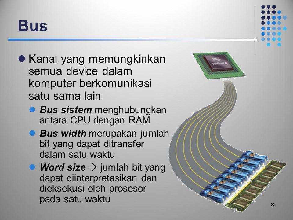 Bus  Kanal yang memungkinkan semua device dalam komputer berkomunikasi satu sama lain  Bus sistem menghubungkan antara CPU dengan RAM  Bus width me