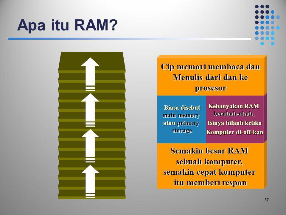 Apa itu RAM? 37 Semakin besar RAM sebuah komputer, semakin cepat komputer itu memberi respon Biasa disebut main memory atau primary storage Kebanyakan