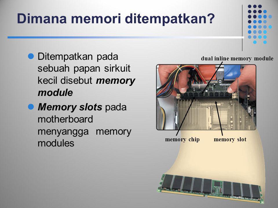 Dimana memori ditempatkan?  Ditempatkan pada sebuah papan sirkuit kecil disebut memory module  Memory slots pada motherboard menyangga memory module