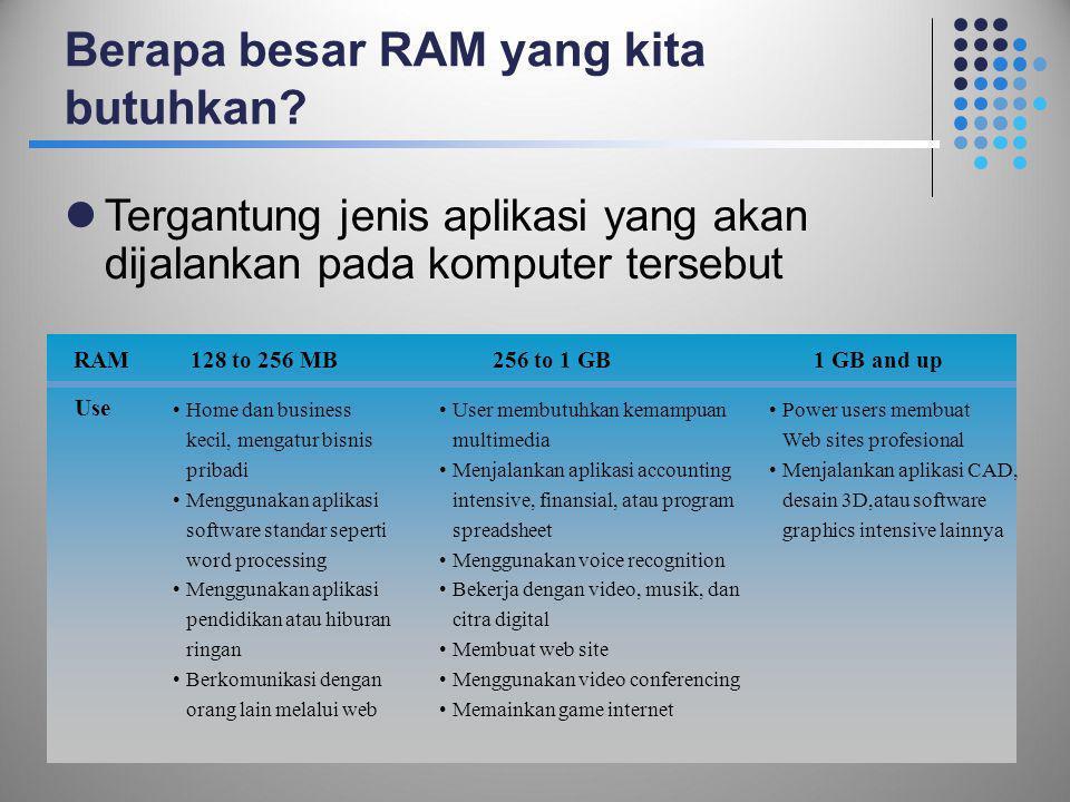 Berapa besar RAM yang kita butuhkan?  Tergantung jenis aplikasi yang akan dijalankan pada komputer tersebut 43 RAM Use 128 to 256 MB256 to 1 GB1 GB a