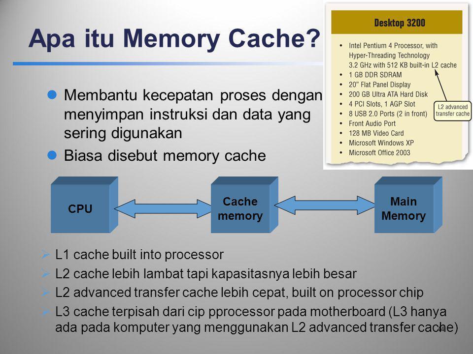 Apa itu Memory Cache?  Membantu kecepatan proses dengan menyimpan instruksi dan data yang sering digunakan  Biasa disebut memory cache  L1 cache bu
