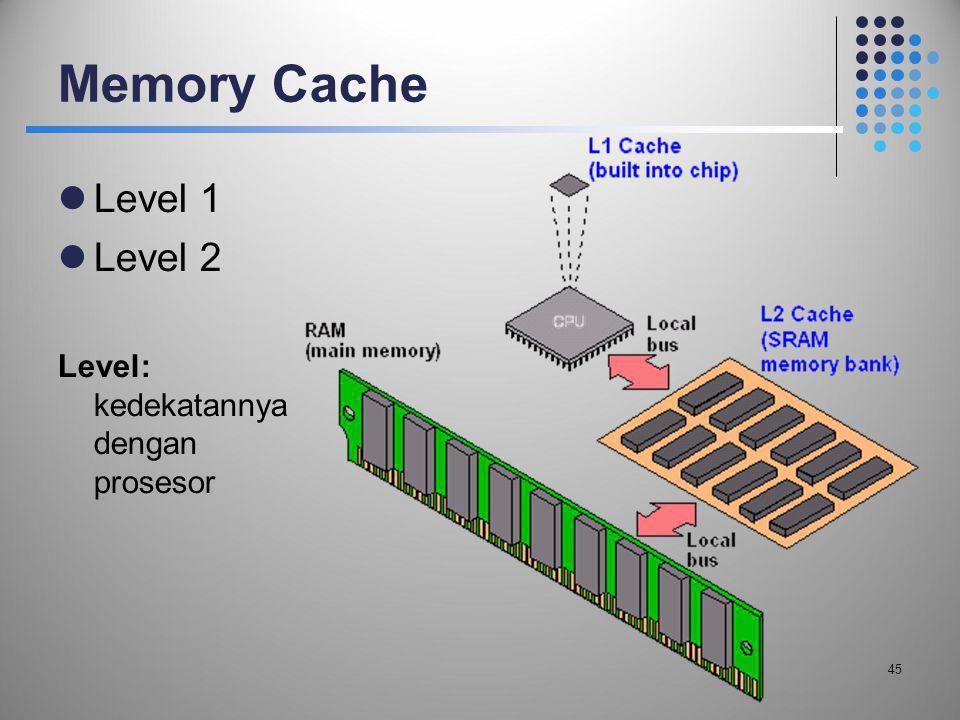 Memory Cache  Level 1  Level 2 Level: kedekatannya dengan prosesor 45