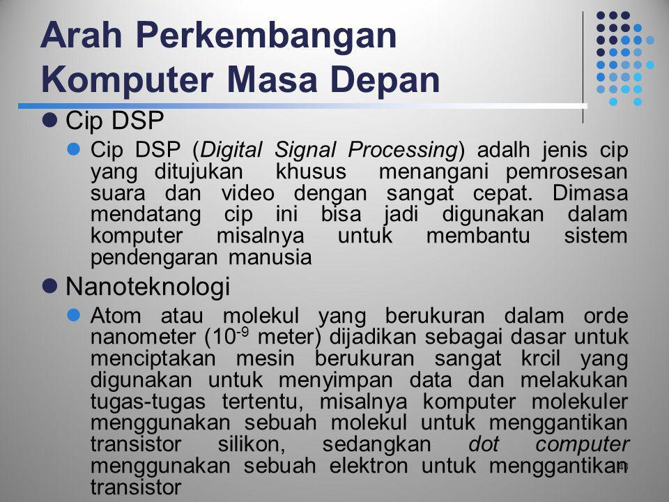 Arah Perkembangan Komputer Masa Depan  Cip DSP  Cip DSP (Digital Signal Processing) adalh jenis cip yang ditujukan khusus menangani pemrosesan suara