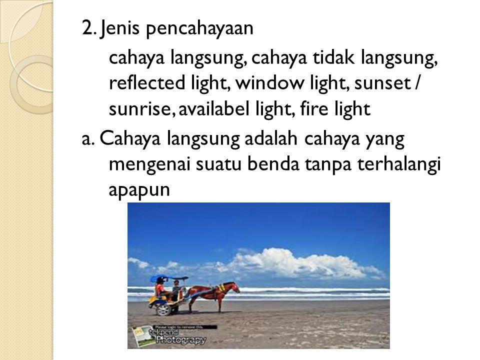 2. Jenis pencahayaan cahaya langsung, cahaya tidak langsung, reflected light, window light, sunset / sunrise, availabel light, fire light a. Cahaya la