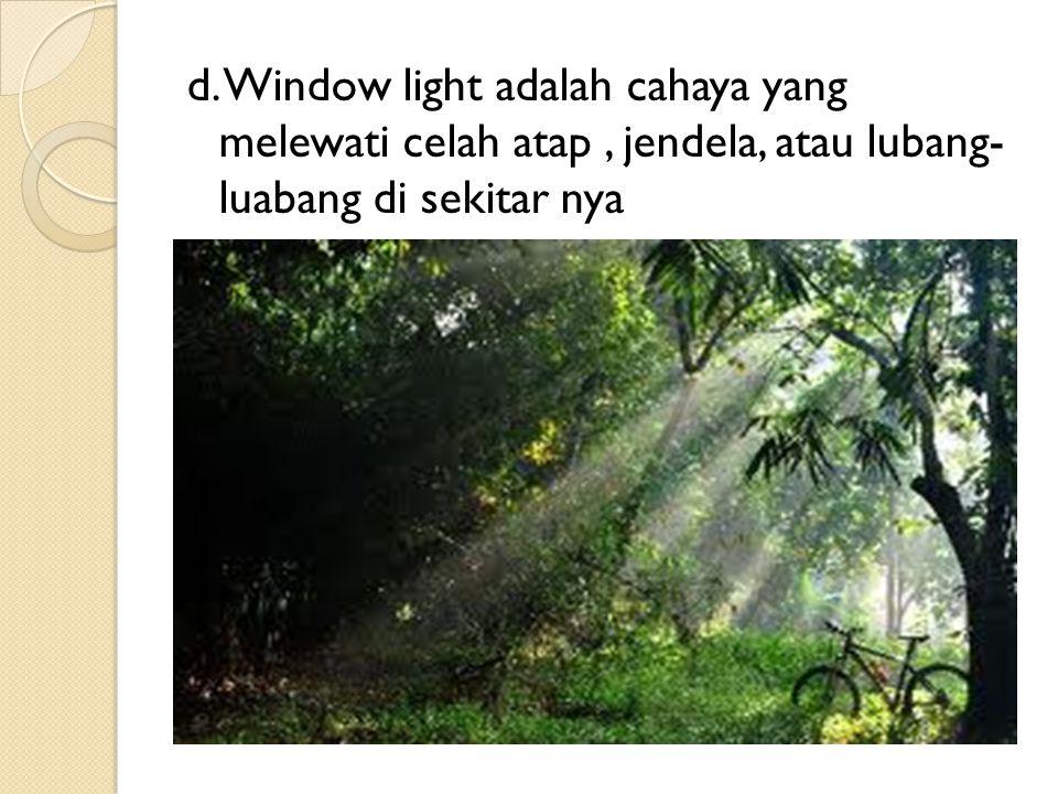 d. Window light adalah cahaya yang melewati celah atap, jendela, atau lubang- luabang di sekitar nya