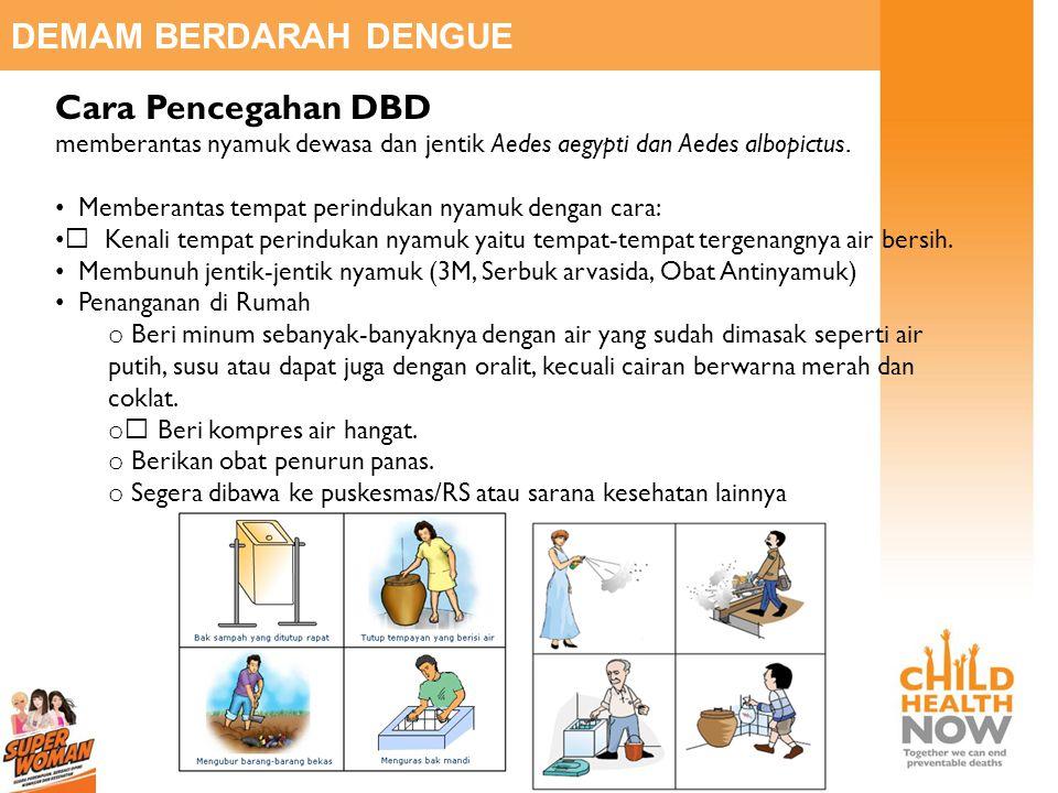 DEMAM BERDARAH DENGUE Cara Pencegahan DBD memberantas nyamuk dewasa dan jentik Aedes aegypti dan Aedes albopictus. • Memberantas tempat perindukan nya