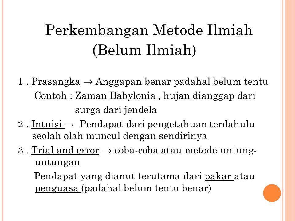Perkembangan Metode Ilmiah (Belum Ilmiah) 1.