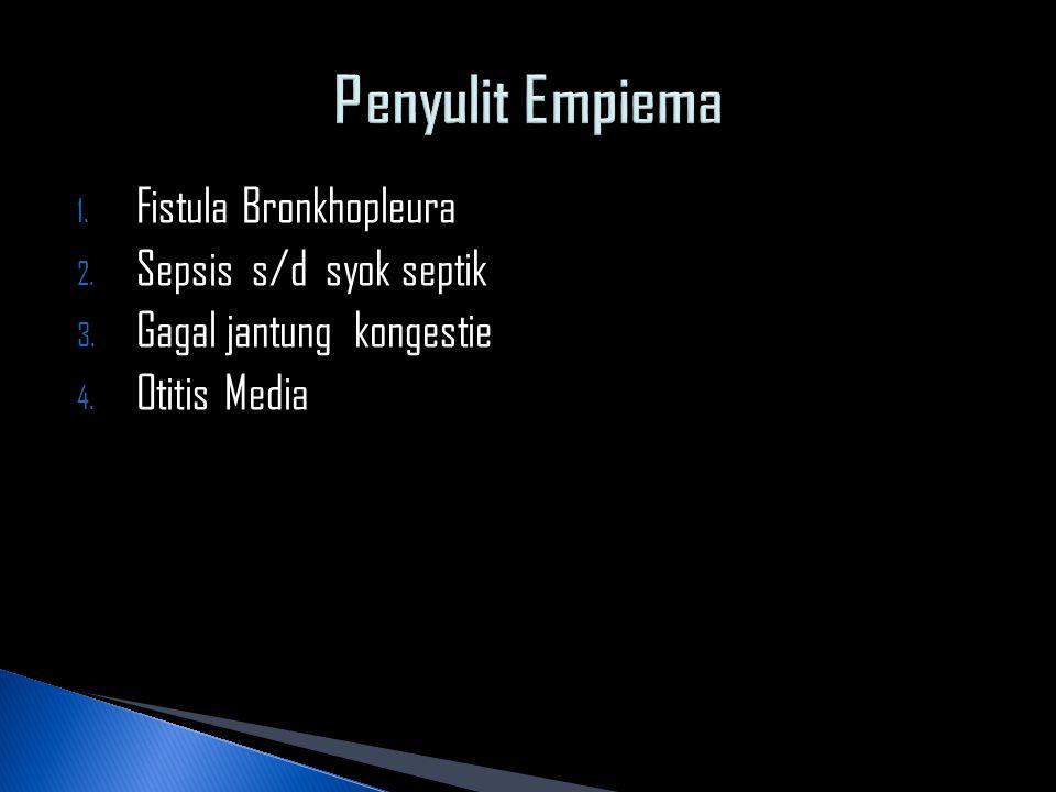 1. Fistula Bronkhopleura 2. Sepsis s/d syok septik 3. Gagal jantung kongestie 4. Otitis Media