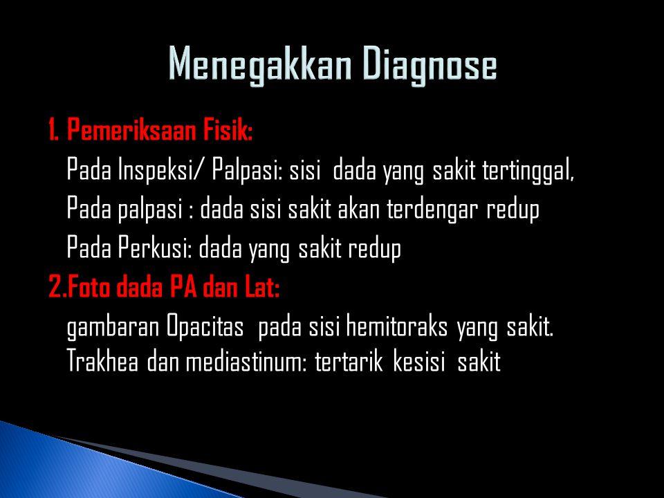 1. Pemeriksaan Fisik: Pada Inspeksi/ Palpasi: sisi dada yang sakit tertinggal, Pada palpasi : dada sisi sakit akan terdengar redup Pada Perkusi: dada