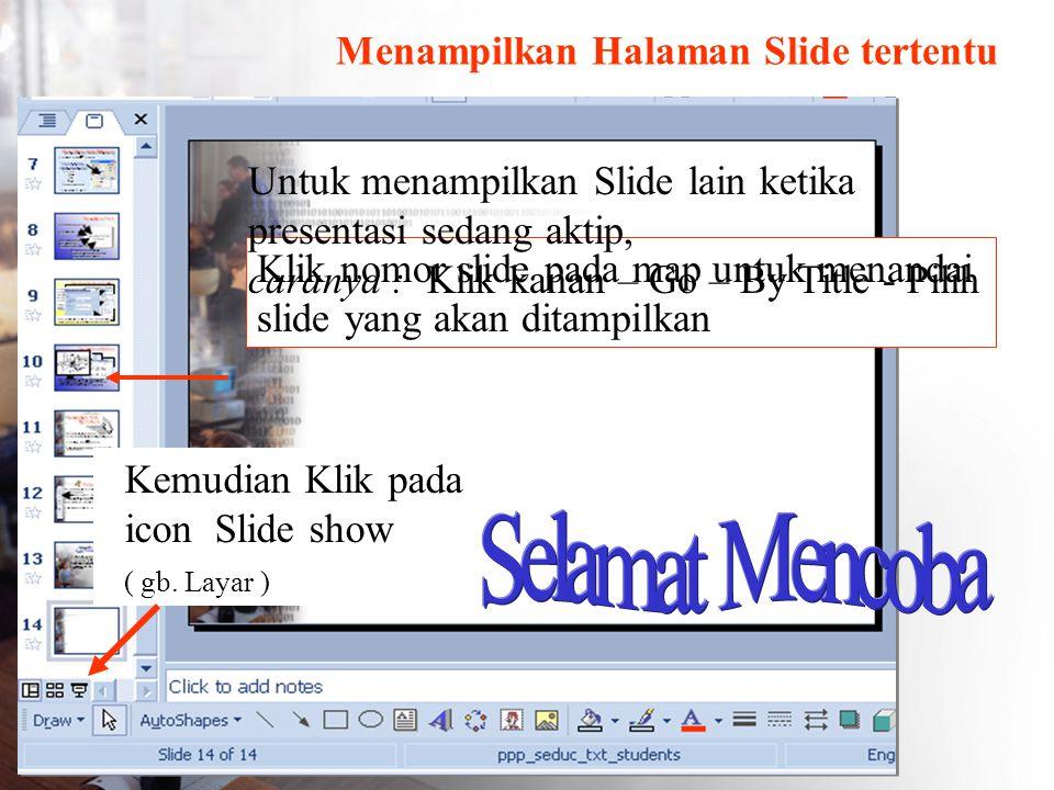 Menampilkan Halaman Slide tertentu Kemudian Klik pada icon Slide show ( gb. Layar ) Klik nomor slide pada map untuk menandai slide yang akan ditampilk