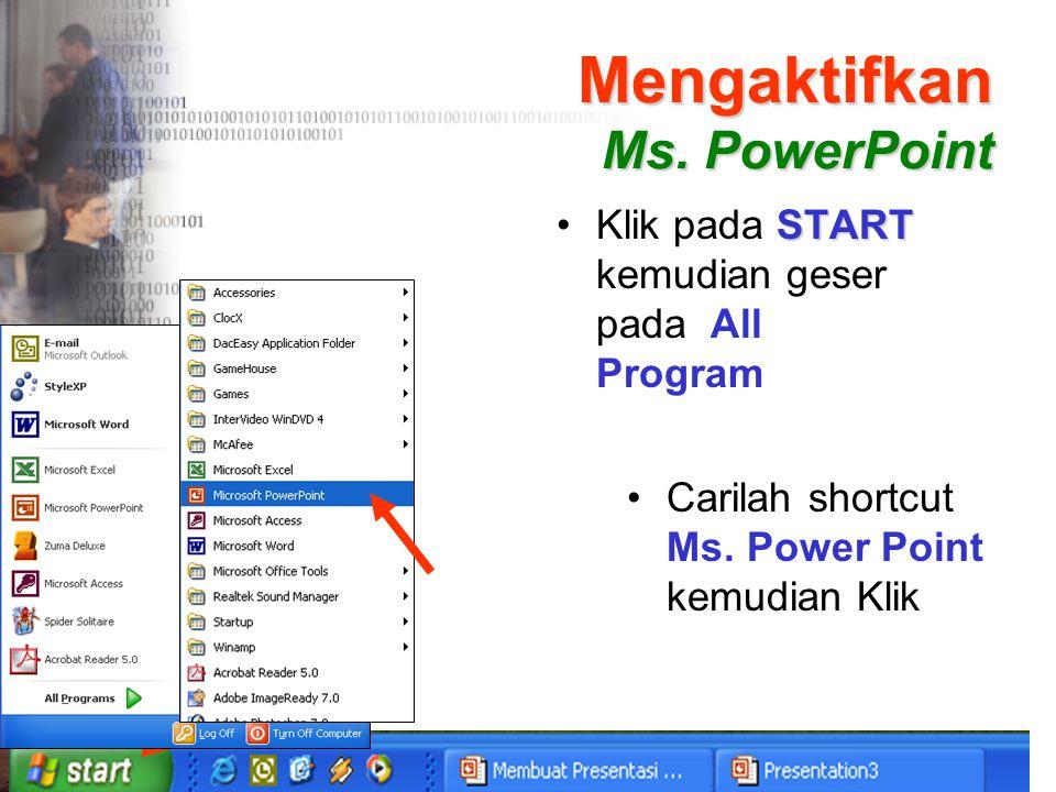 Mengaktifkan Ms. PowerPoint START •Klik pada START kemudian geser pada All Program •Carilah shortcut Ms. Power Point kemudian Klik