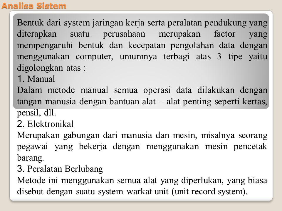 Analisa Sistem Bentuk dari system jaringan kerja serta peralatan pendukung yang diterapkan suatu perusahaan merupakan factor yang mempengaruhi bentuk