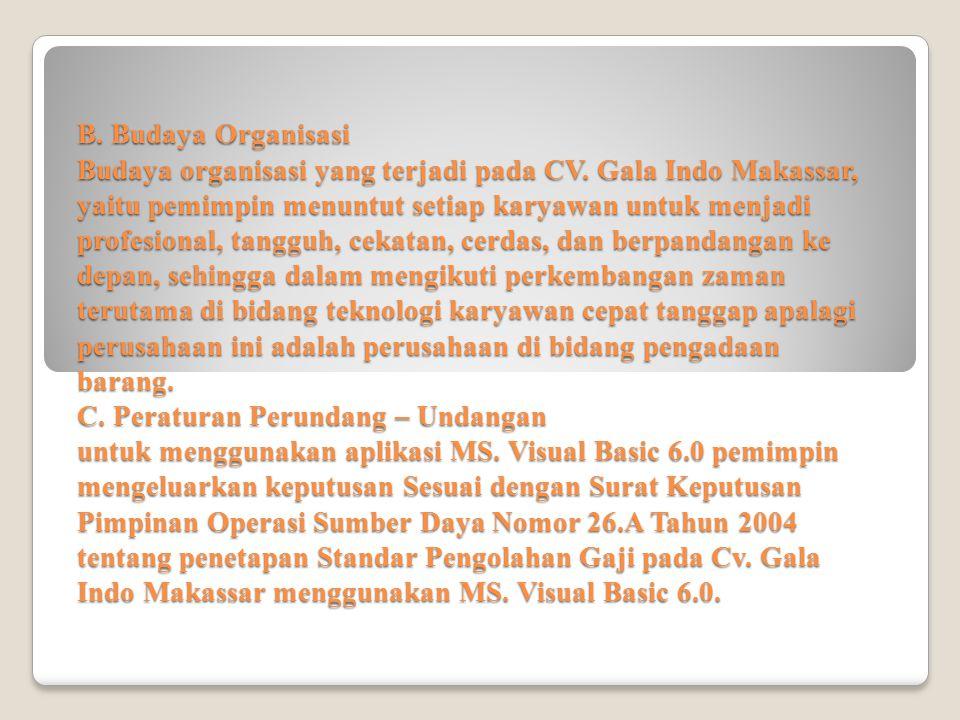 B. Budaya Organisasi Budaya organisasi yang terjadi pada CV. Gala Indo Makassar, yaitu pemimpin menuntut setiap karyawan untuk menjadi profesional, ta