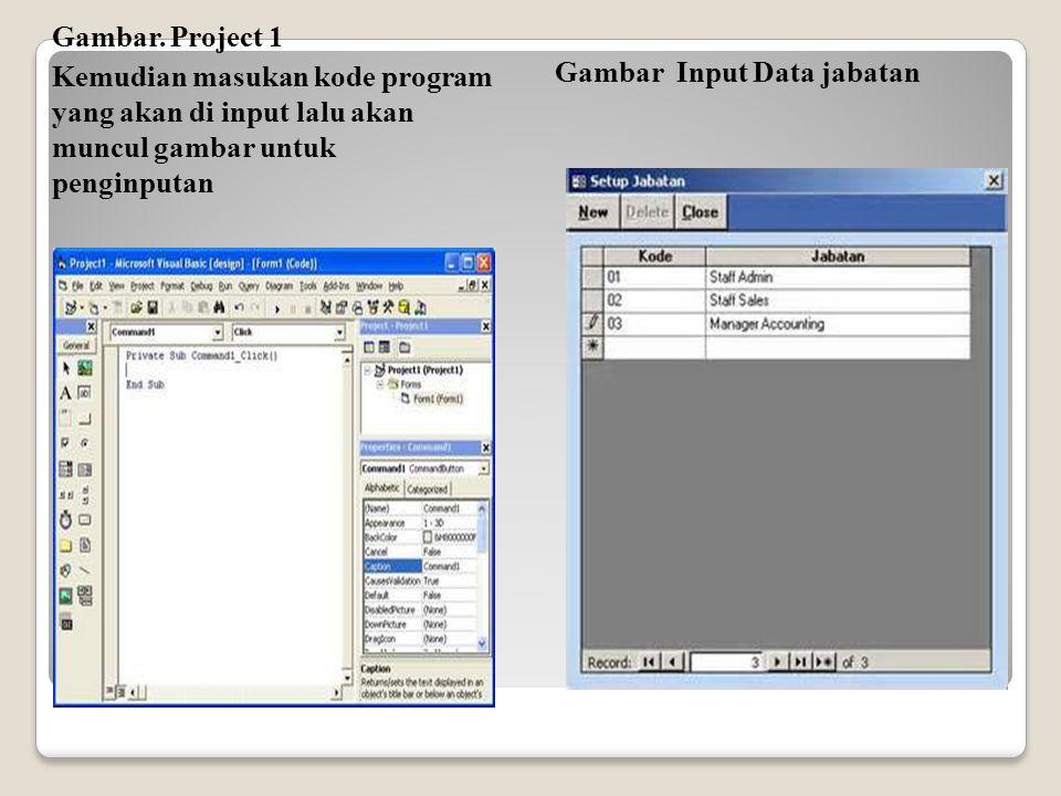 Gambar. Project 1 Kemudian masukan kode program yang akan di input lalu akan muncul gambar untuk penginputan Gambar Input Data jabatan