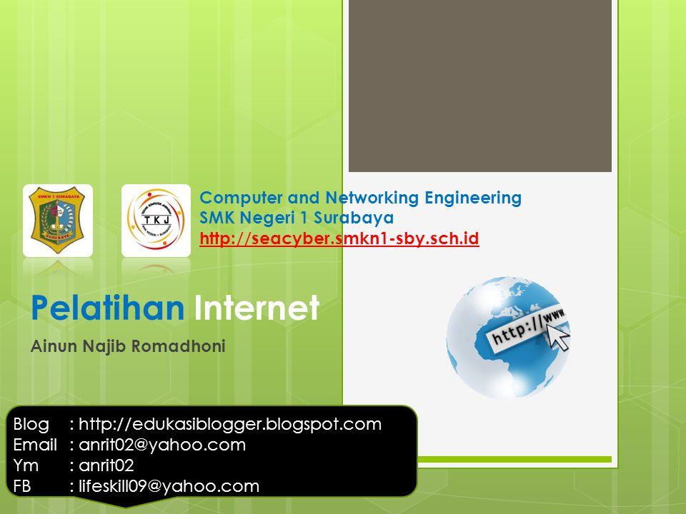 Pelatihan Internet Ainun Najib Romadhoni Blog: http://edukasiblogger.blogspot.com Email: anrit02@yahoo.com Ym: anrit02 FB: lifeskill09@yahoo.com Compu