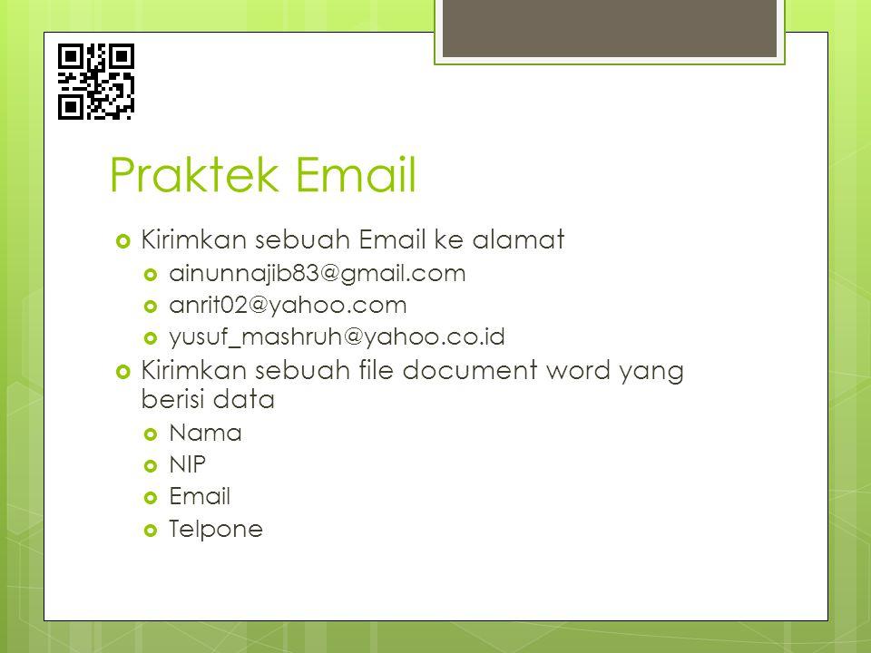 Praktek Email  Kirimkan sebuah Email ke alamat  ainunnajib83@gmail.com  anrit02@yahoo.com  yusuf_mashruh@yahoo.co.id  Kirimkan sebuah file docume