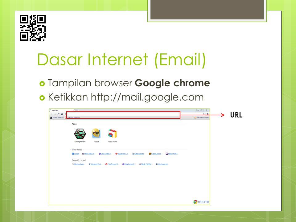 Dasar Internet (Email)  Tampilan browser Google chrome  Ketikkan http://mail.google.com URL