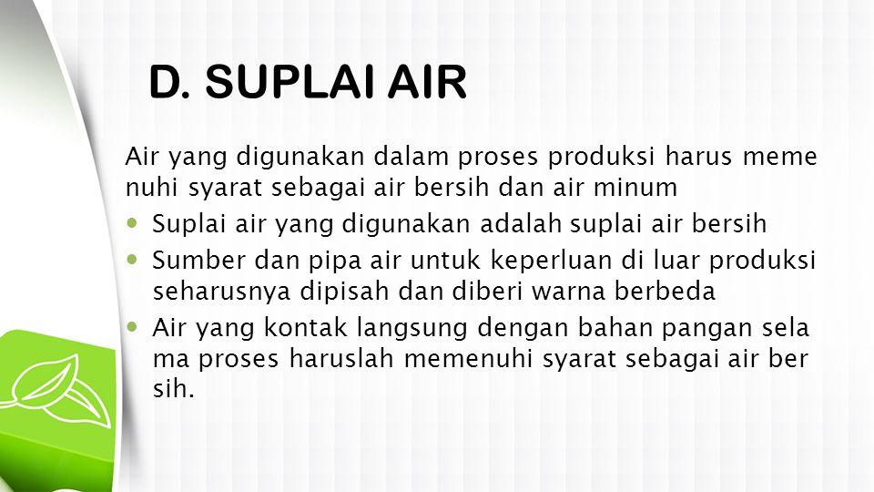 D. SUPLAI AIR Air yang digunakan dalam proses produksi harus meme nuhi syarat sebagai air bersih dan air minum  Suplai air yang digunakan adalah supl