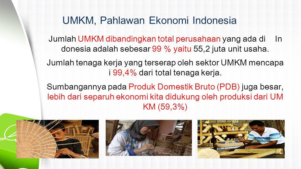 UMKM, Pahlawan Ekonomi Indonesia Jumlah UMKM dibandingkan total perusahaan yang ada di In donesia adalah sebesar 99 % yaitu 55,2 juta unit usaha.