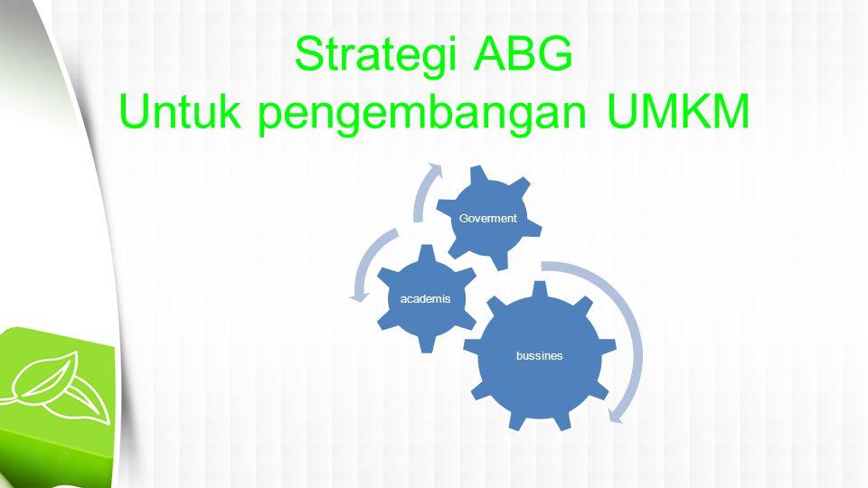 Strategi ABG Untuk pengembangan UMKM bussines academis Goverment