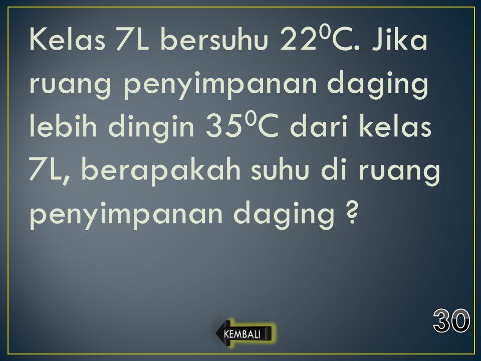 Kelas 7L bersuhu 22 0 C. Jika ruang penyimpanan daging lebih dingin 35 0 C dari kelas 7L, berapakah suhu di ruang penyimpanan daging ?