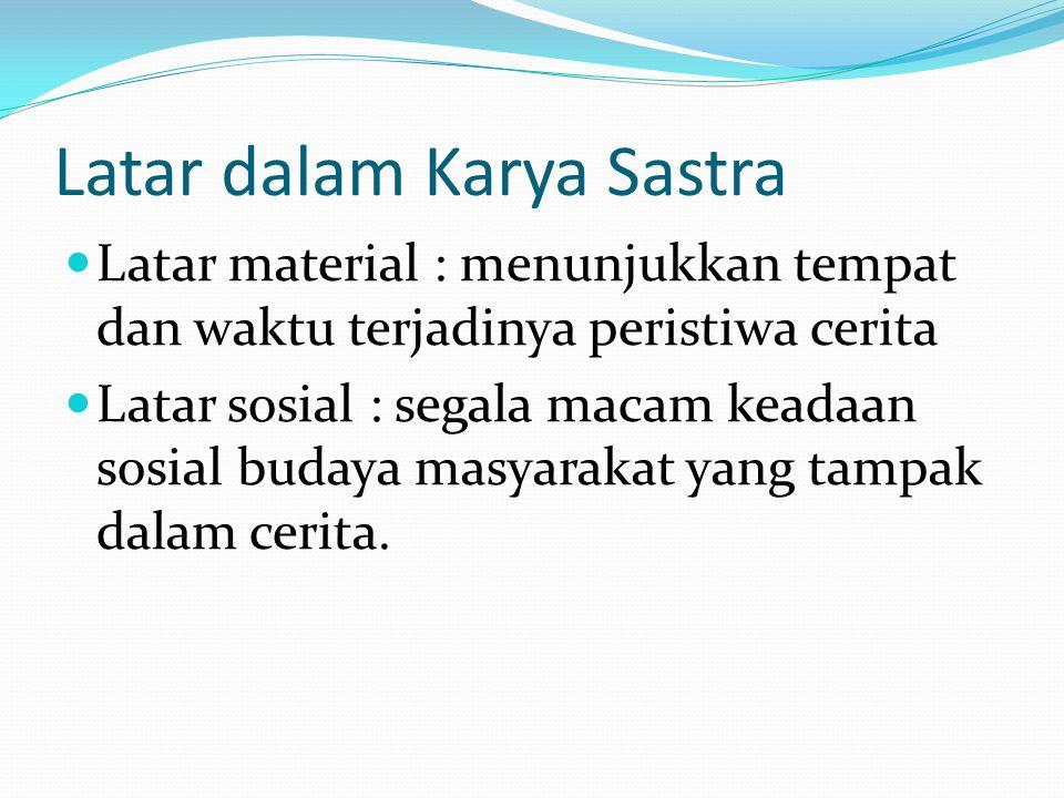 Latar dalam Karya Sastra  Latar material : menunjukkan tempat dan waktu terjadinya peristiwa cerita  Latar sosial : segala macam keadaan sosial buda