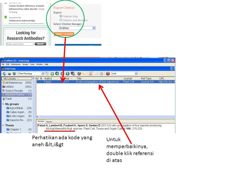 Perhatikan ada kode yang aneh &lt,i&gt Untuk memperbaikinya, double klik referensi di atas