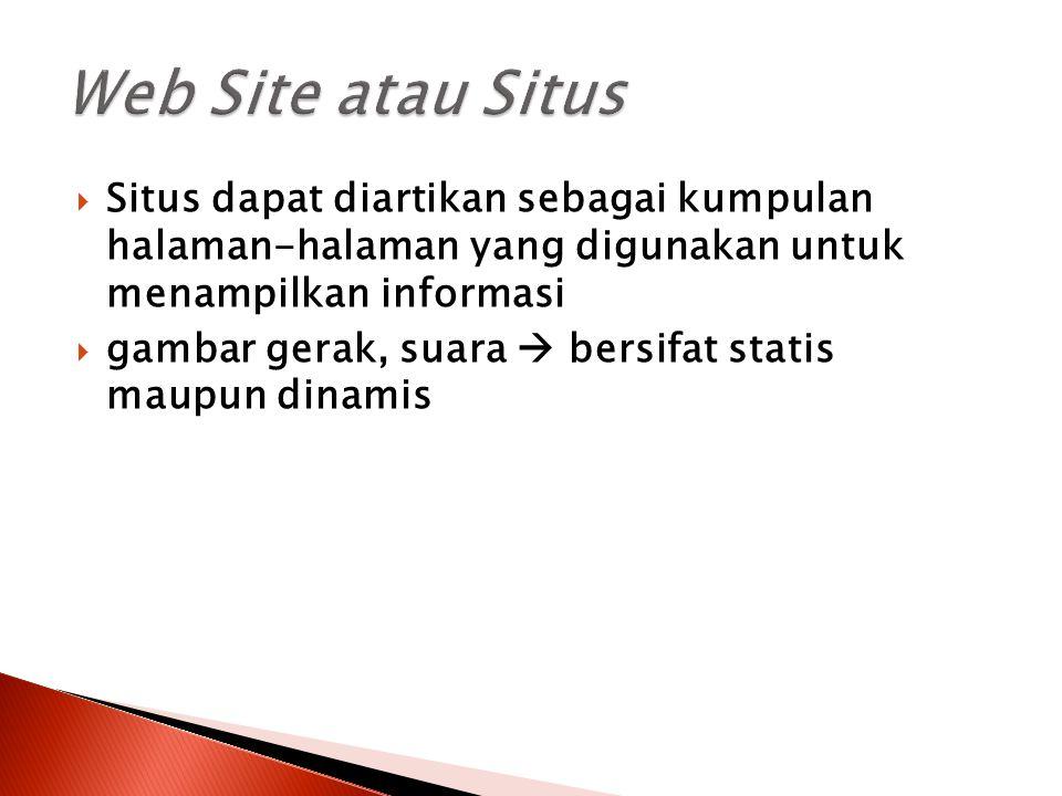  Situs dapat diartikan sebagai kumpulan halaman-halaman yang digunakan untuk menampilkan informasi  gambar gerak, suara  bersifat statis maupun din
