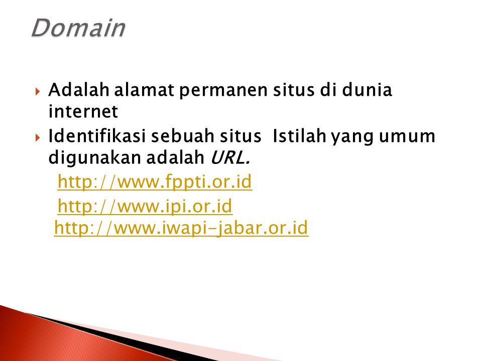  Adalah alamat permanen situs di dunia internet  Identifikasi sebuah situs Istilah yang umum digunakan adalah URL. http://www.fppti.or.id http://www