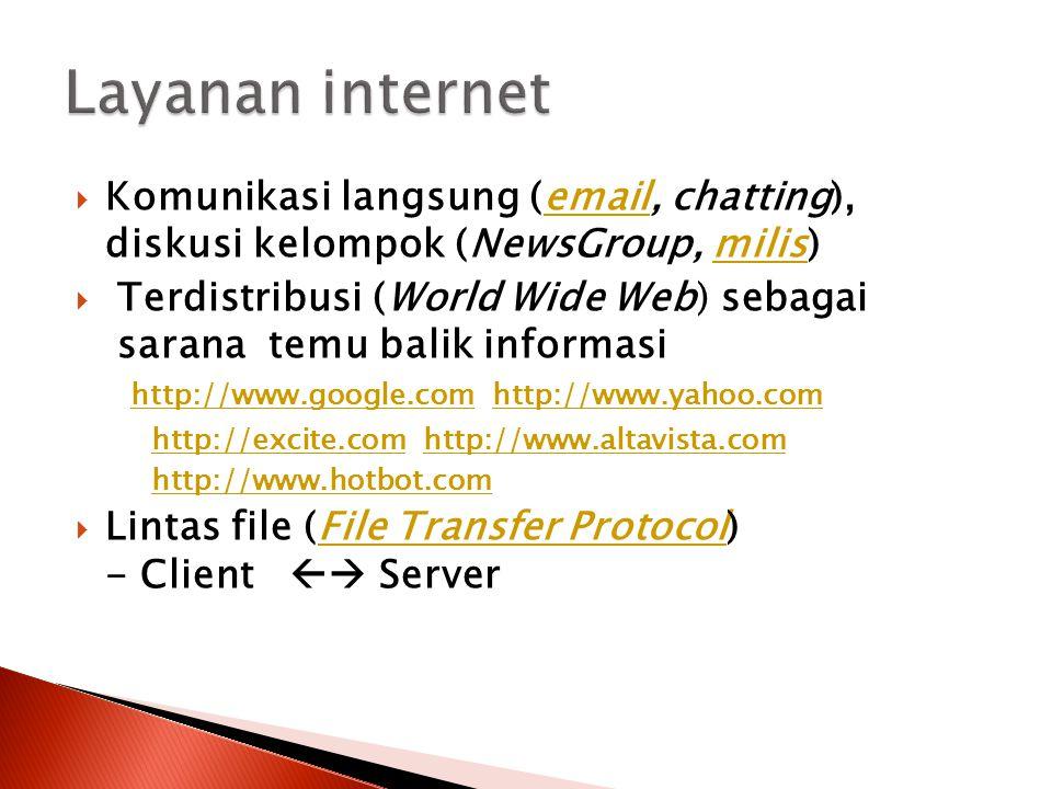  Komunikasi langsung (email, chatting), diskusi kelompok (NewsGroup, milis)emailmilis  Terdistribusi (World Wide Web) sebagai sarana temu balik info