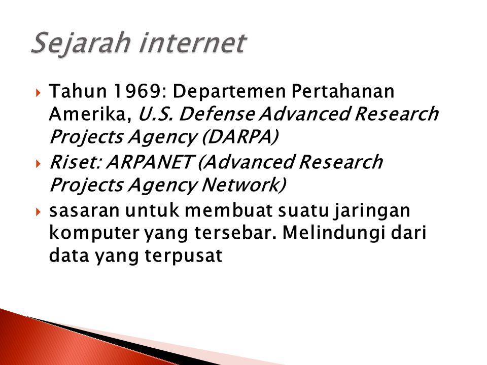  Tahun 1969: Departemen Pertahanan Amerika, U.S. Defense Advanced Research Projects Agency (DARPA)  Riset: ARPANET (Advanced Research Projects Agenc