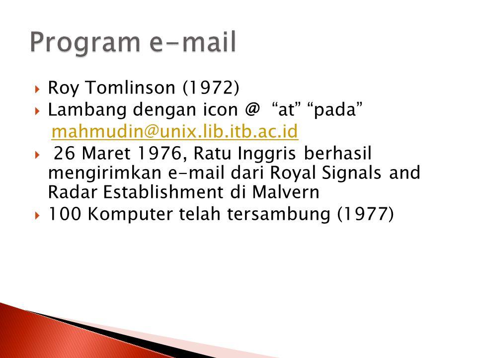 " Roy Tomlinson (1972)  Lambang dengan icon @ ""at"" ""pada"" mahmudin@unix.lib.itb.ac.id  26 Maret 1976, Ratu Inggris berhasil mengirimkan e-mail dari"