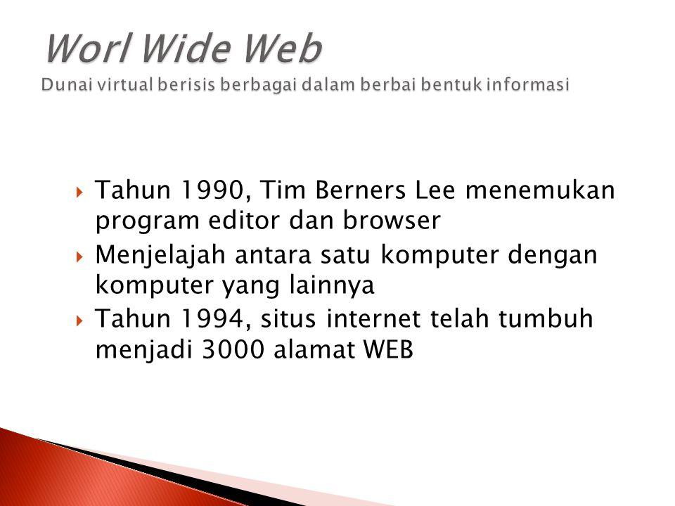  Tahun 1990, Tim Berners Lee menemukan program editor dan browser  Menjelajah antara satu komputer dengan komputer yang lainnya  Tahun 1994, situs
