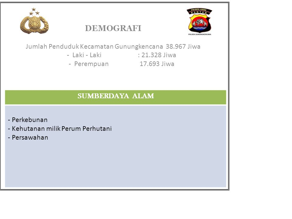 DEMOGRAFI Jumlah Penduduk Kecamatan Gunungkencana 38.967 Jiwa - Laki - Laki: 21.328 Jiwa - Perempuan17.693 Jiwa SUMBERDAYA ALAM - Perkebunan - Kehutan