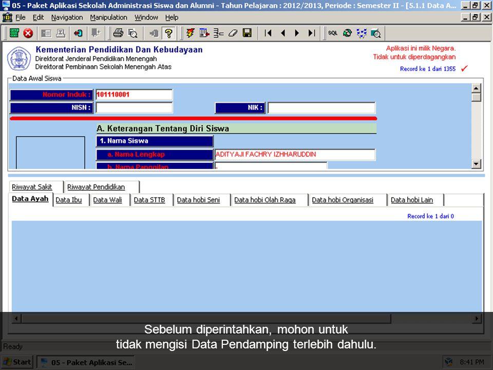Data Induk (berisi data pribadi Anda) Data Pendamping (berisi data pendamping individu)