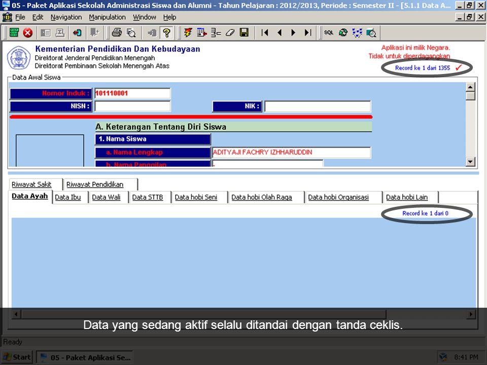 Ini adalah tombol Save (shortcut: F2) untuk menyimpan data yang aktif.