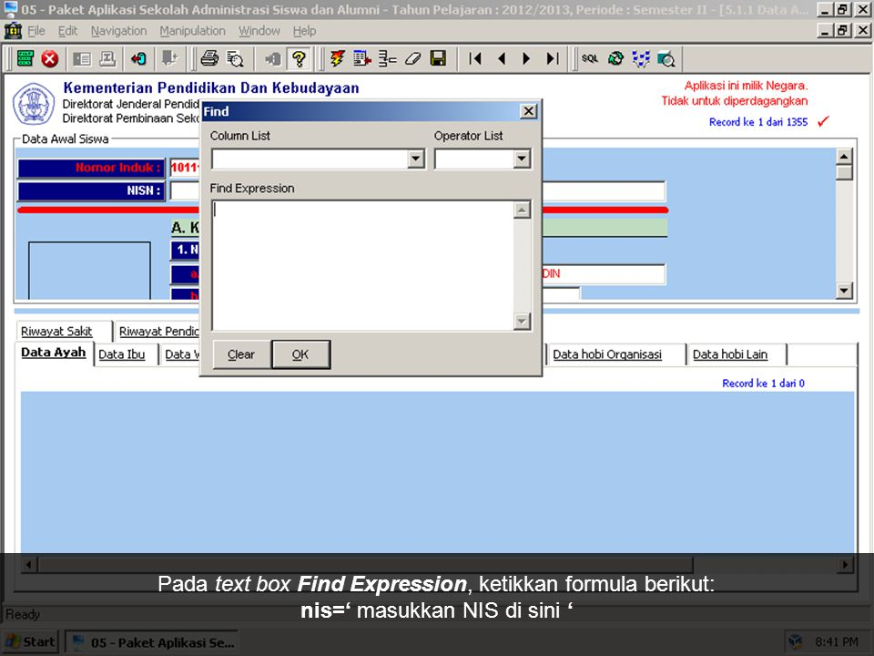 Klik tombol Find di toolbar.