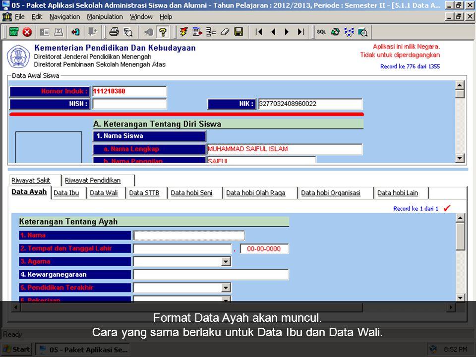 Pada konfirmasi penambahan data, klik Yes.