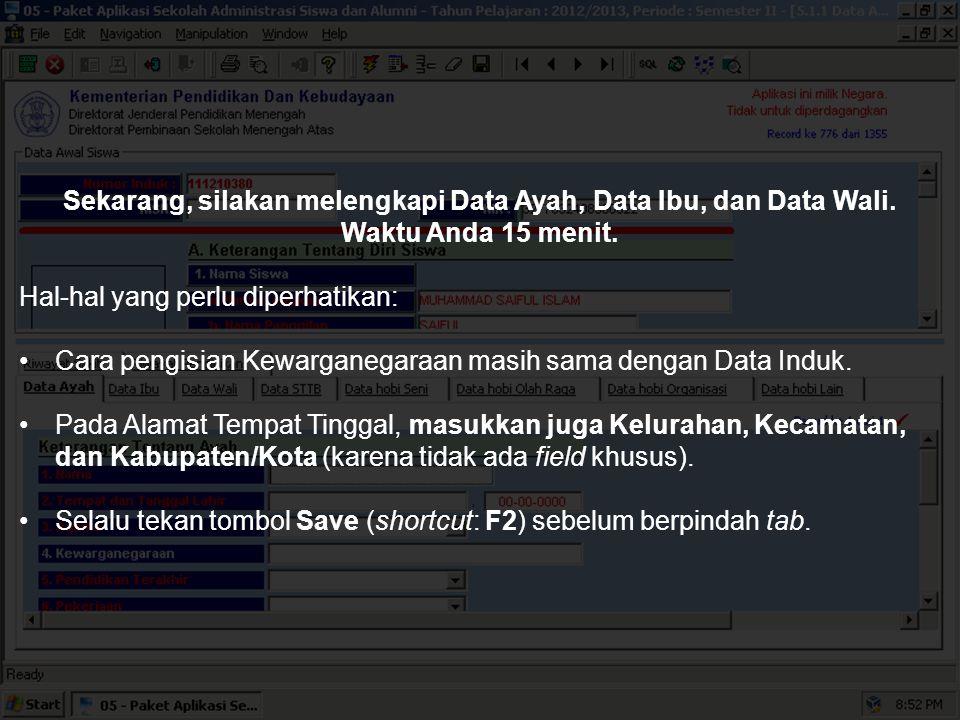 Format Data Ayah akan muncul. Cara yang sama berlaku untuk Data Ibu dan Data Wali.