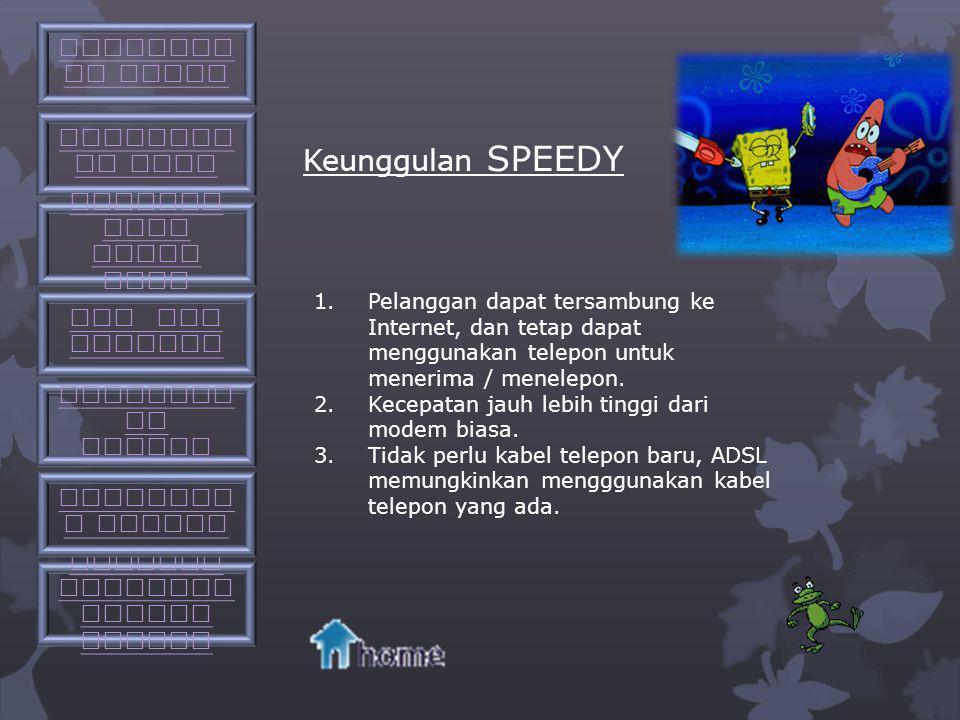 Apa itu SPEEDY SPEEDY adalah layanan produk layanan internet access end- to-end dari PT. TELKOM dengan basis teknologi Asymeteric Digital Subscriber L