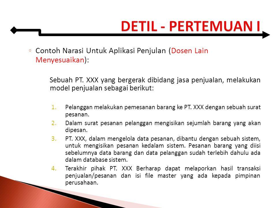 ◦ Contoh Narasi Untuk Aplikasi Penjulan (Dosen Lain Menyesuaikan): Sebuah PT. XXX yang bergerak dibidang jasa penjualan, melakukan model penjualan seb