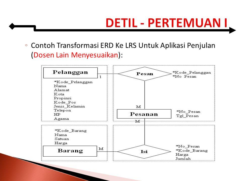 ◦ Contoh Transformasi ERD Ke LRS Untuk Aplikasi Penjulan (Dosen Lain Menyesuaikan):