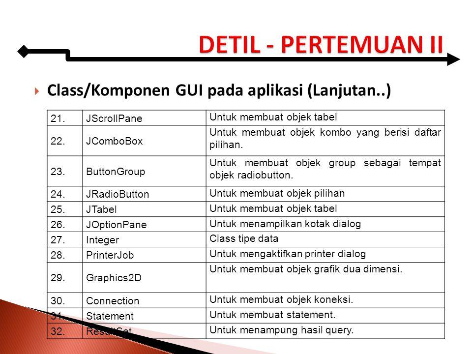  Class/Komponen GUI pada aplikasi (Lanjutan..) 21.JScrollPane Untuk membuat objek tabel 22.JComboBox Untuk membuat objek kombo yang berisi daftar pil