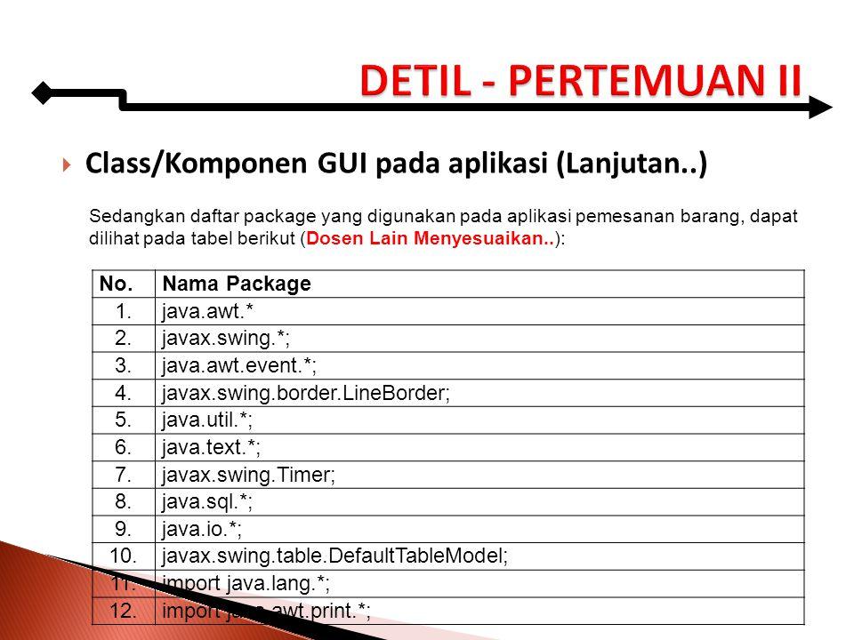 Class/Komponen GUI pada aplikasi (Lanjutan..) Sedangkan daftar package yang digunakan pada aplikasi pemesanan barang, dapat dilihat pada tabel berik