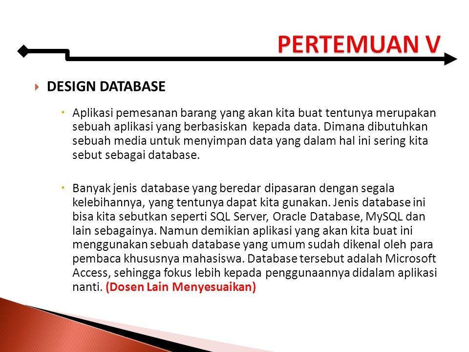  DESIGN DATABASE  Aplikasi pemesanan barang yang akan kita buat tentunya merupakan sebuah aplikasi yang berbasiskan kepada data. Dimana dibutuhkan s