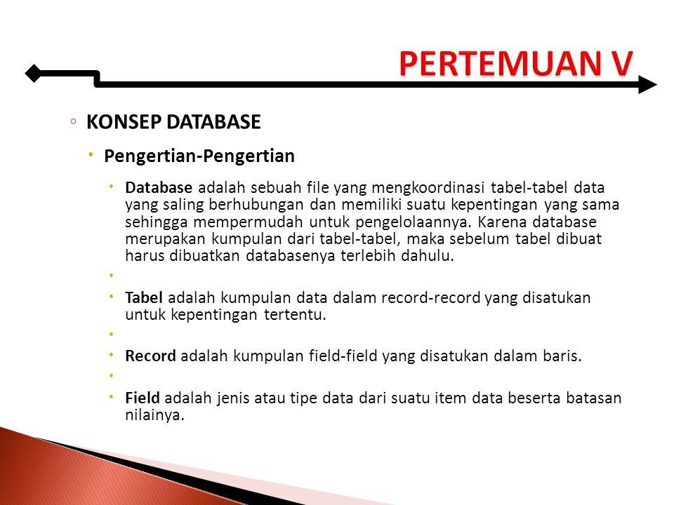 ◦ KONSEP DATABASE  Pengertian-Pengertian  Database adalah sebuah file yang mengkoordinasi tabel-tabel data yang saling berhubungan dan memiliki suat